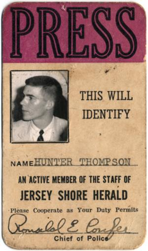 Hunter Thompson Jersey Shore Herald Press Pass